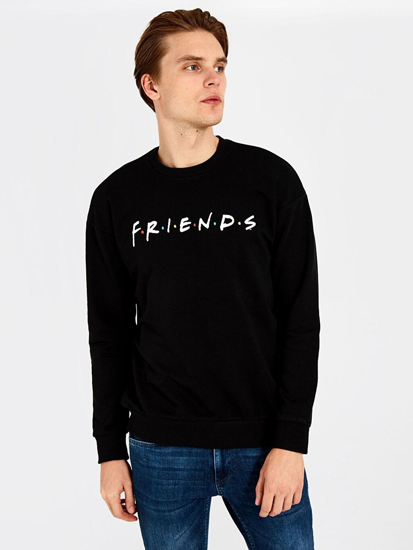 Siyah Friends Bisiklet Yaka Kalın Sweatshirt 9WY778Z8 LC Waikiki
