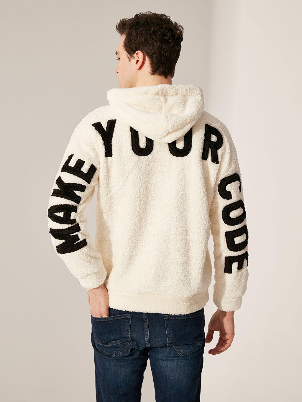 Erkek Kapüşonlu Baskılı Pelüş Sweatshirt