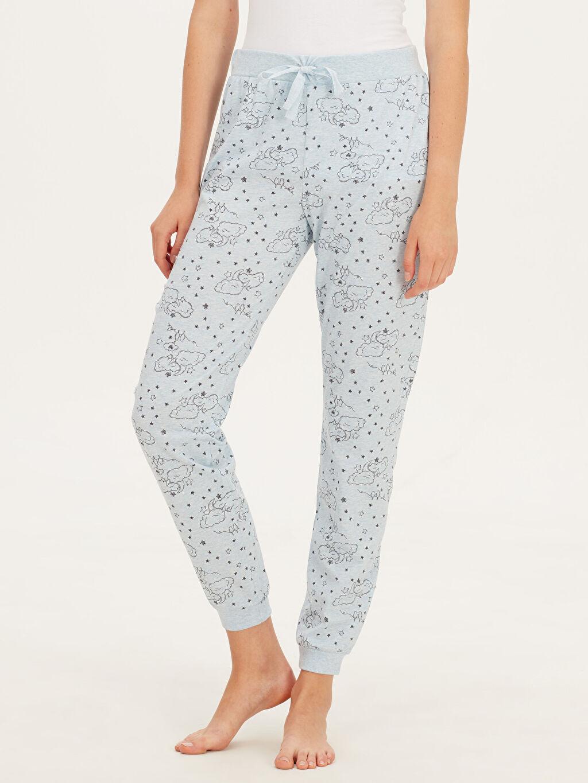 %48 Pamuk %52 Polyester Standart Pijama Alt Baskılı Süprem Desenli Jogger Pijama Alt