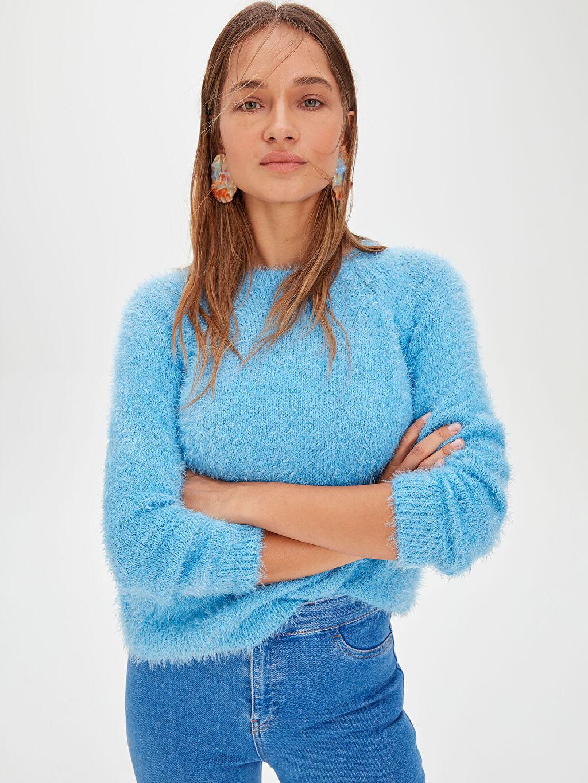 Kadın Tüylü Triko Kazak