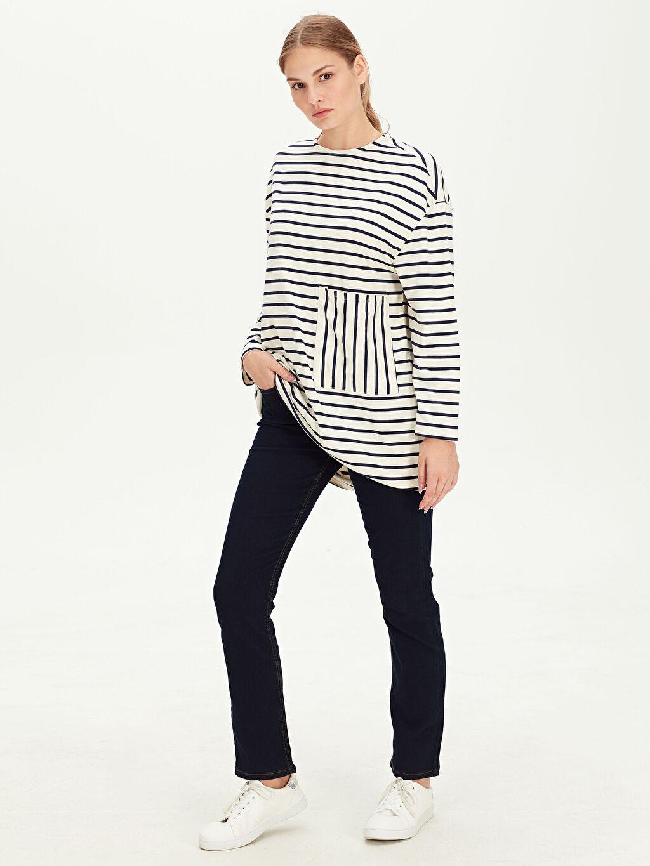 %68 Pamuk %30 Polyester %2 Elastan Jean Standart Yüksek Bel Standart Düz Paça Jean Pantolon
