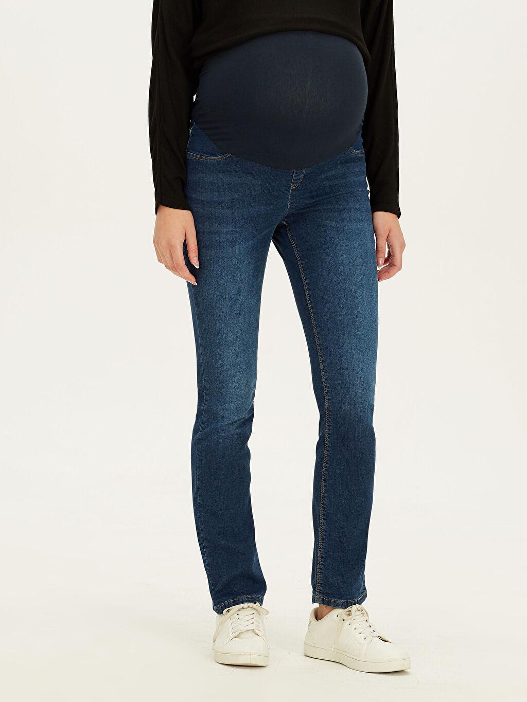 %98 Pamuk %2 Elastan Jean Orta Kalınlık Düz Günlük Beli Ayarlanabilir Lastikli Hamile Jean Pantolon