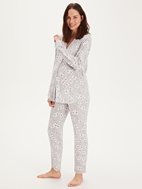 %95 Viskon %5 Elastan İç Giyim Çiçek Desenli Viskon Hamile Pijama Takımı