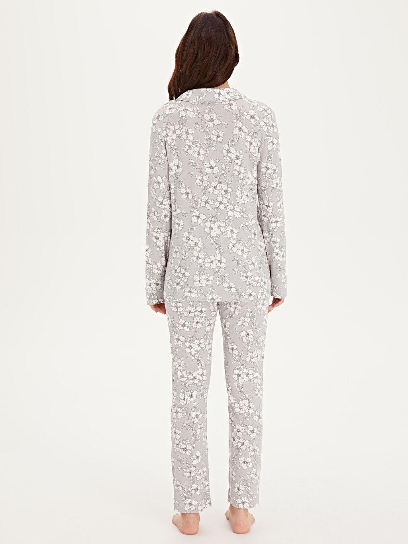 Kadın Çiçek Desenli Viskon Hamile Pijama Takımı