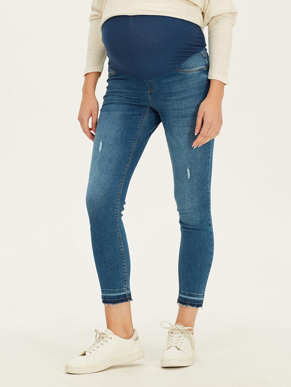 %90 Pamuk %7 Poliester %3 Elastan Jean Beli Ayarlanabilir Lastikli Skinny Hamile Jean Pantolon