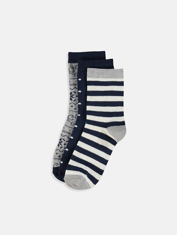 Lacivert Desenli Soket Çorap 3'lü 9W5838Z8 LC Waikiki