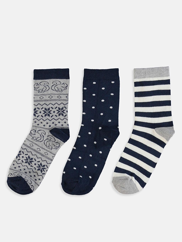 %50 Pamuk %18 Polyester %30 Poliamid %2 Elastan Günlük Orta Kalınlık Soket Çorap Desenli Soket Çorap 3'lü