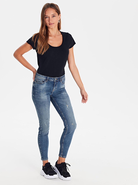 %98 Pamuk %2 Elastan Normal Bel Esnek Dar Jean Skinny Jean Pantolon
