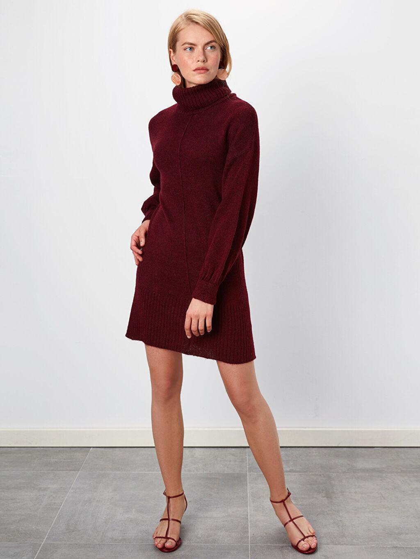 Kadın Düz Şal Yaka Triko Elbise