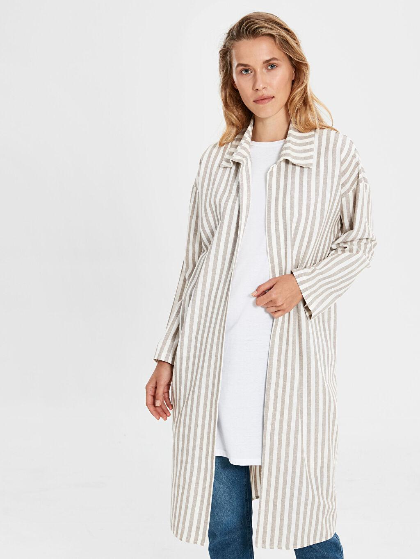 %90 Pamuk %10 Keten Uzun Orta Ceket Çizgili Pamuklu Uzun Ceket