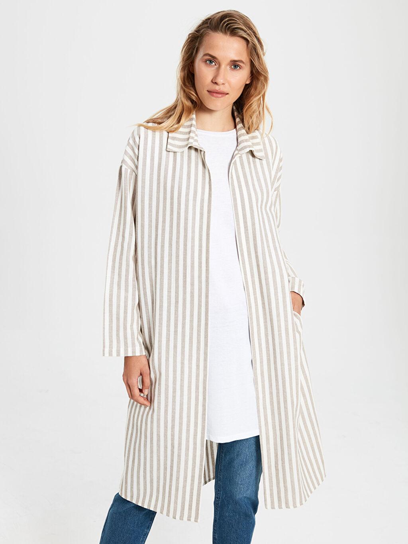Kadın Çizgili Pamuklu Uzun Ceket