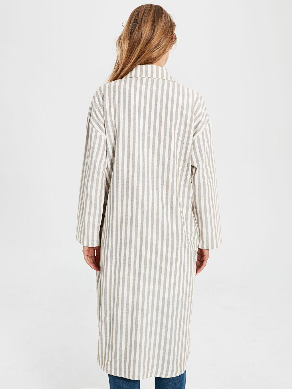 %90 Pamuk %10 Keten Çizgili Pamuklu Uzun Ceket