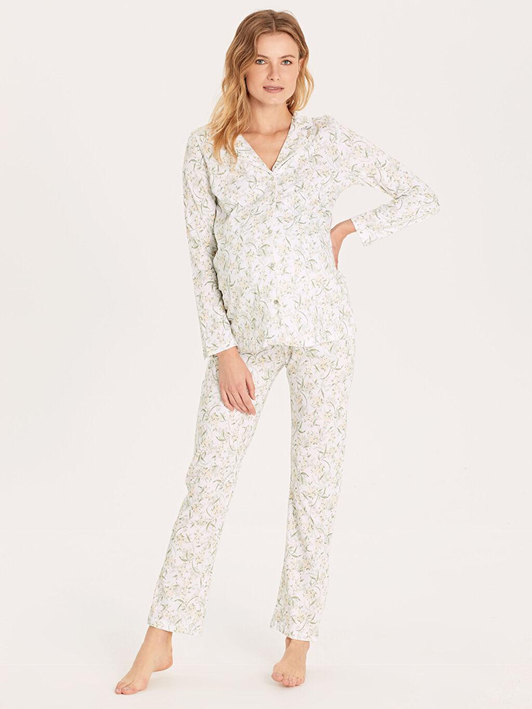 Yeşil Desenli Pamuklu Hamile Pijama Takımı 9W9348Z8 LC Waikiki