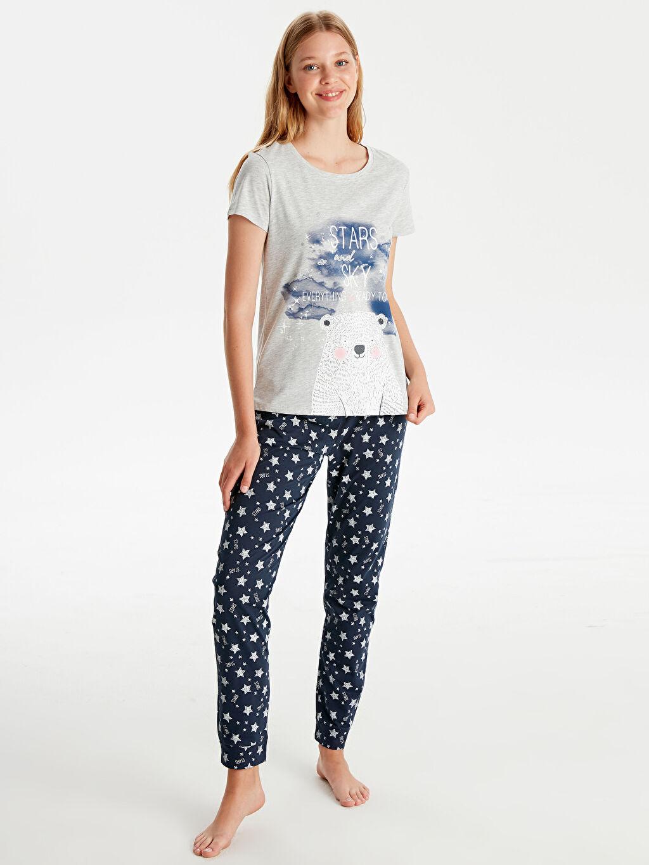 %46 Pamuk %54 Polyester Süprem Standart Pijama Takım Uzun Orta Kalınlık Kısa Kol Baskılı Pijama Takımı