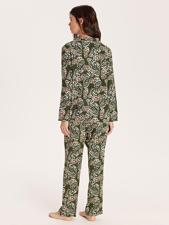 Kadın Desenli Viskon Pijama Takımı