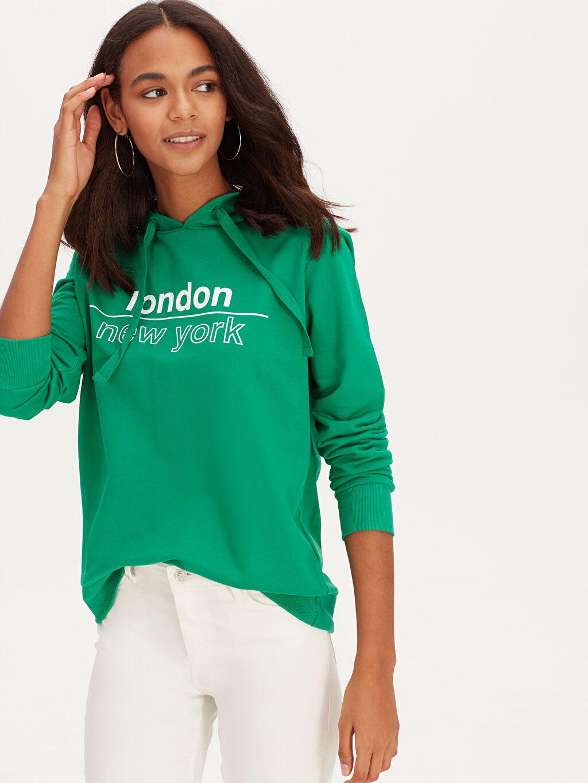 %70 Pamuk %30 Polyester  Yazı Baskılı Kapüşonlu Pamuklu Sweatshirt