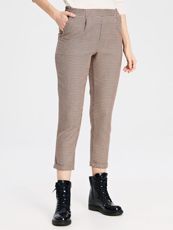 %65 Polyester %35 Viskoz Pantolon Bilek Boy Ekose Normal Bel Havuç Kesim Beli Lastikli Ekose Havuç Pantolon