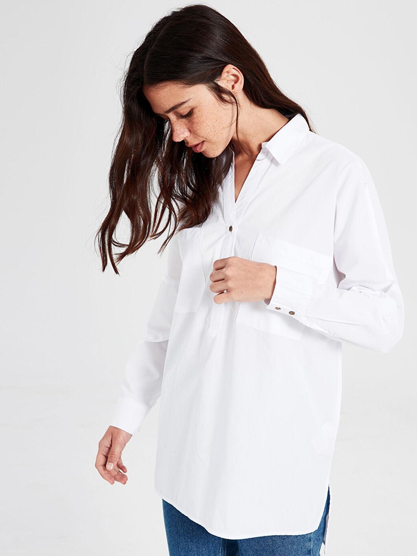 %100 Pamuk Bluz Uzun Kol Düz Düğmeli Gömlek Yaka Düz %100 Pamuk Düz Pamuklu Bluz