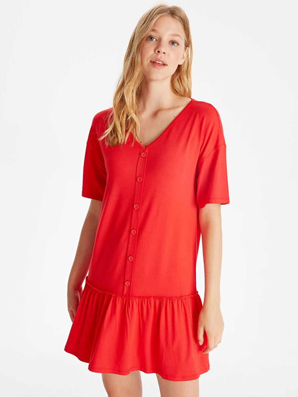Kırmızı Fırfır Detaylı Viskon Elbise 9WJ383Z8 LC Waikiki