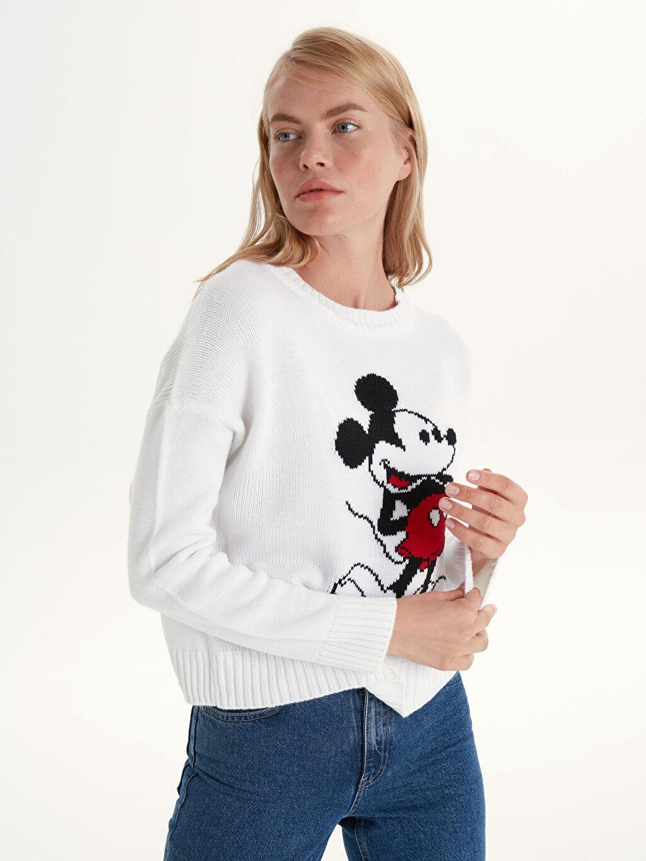 Kadın Mickey Mouse Desenli Triko Kazak