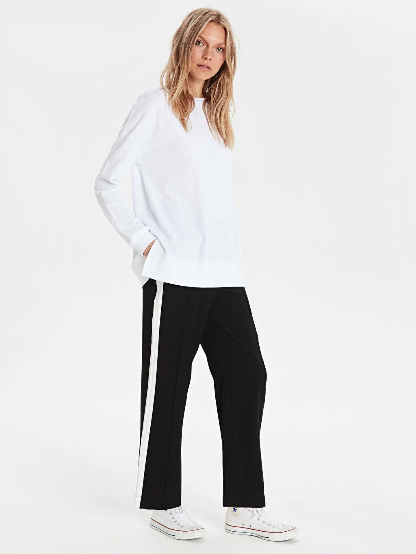 %14 Polyester %86 Viskon Bol Normal Bel Pantolon Yanları Şerit Detaylı Bol Pantolon