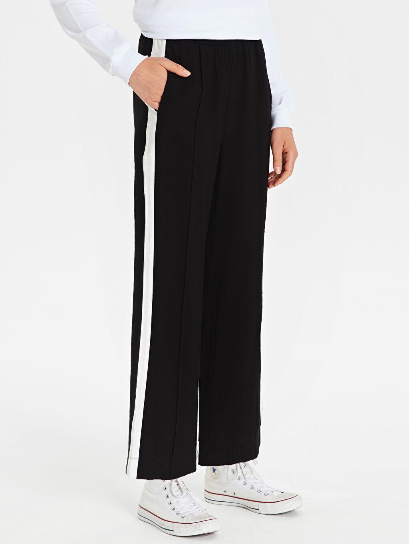Kadın Yanları Şerit Detaylı Bol Pantolon