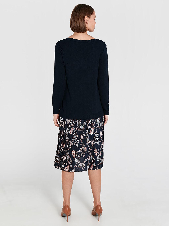 Kadın Diz Altı Desenli Kolsuz Elbise