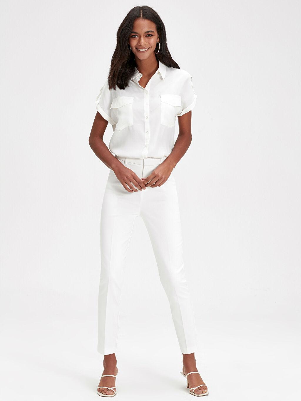 Beyaz Bilek Boy Slim Pantolon 9WK515Z8 LC Waikiki