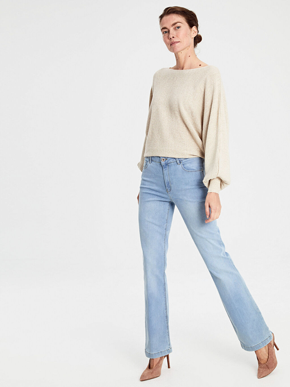 %98 Pamuk %2 Elastan Yüksek Bel Standart Jean Standart Çizme Paça Jean Pantolon