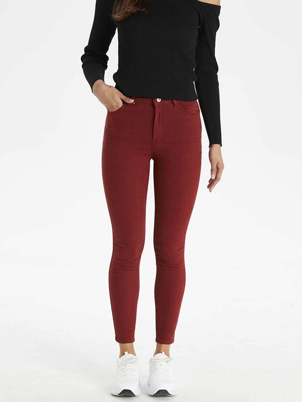 %98 Pamuk %2 Elastan Yüksek Bel Dar Jean Standart Super Skinny Jean Pantolon