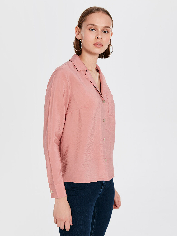 %15 Poliamid %85 Viskon Gömlek Standart Gömlek Yaka Uzun Kol Düz Standart Tam Pat Gömlek Saten Yakalı Saten Gömlek