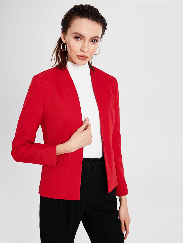 Kırmızı Yakasız Blazer Ceket 9WK910Z8 LC Waikiki