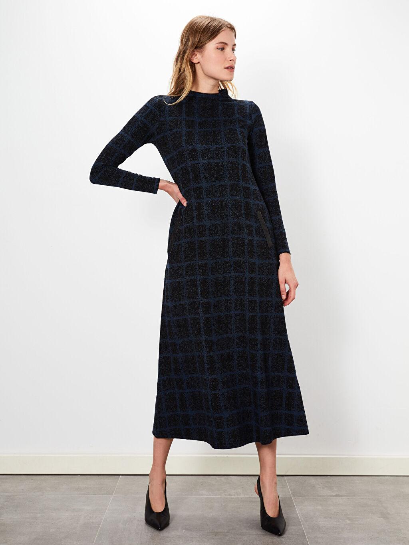%69 Polyester %2 Elastan %29 Viskoz Uzun Düz Uzun Kol Ofis/Klasik A Kesim Desenli Uzun Elbise