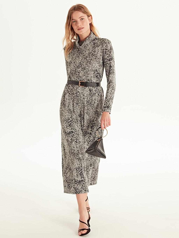 %41 Poliester %58 Vıscose %1 Elastane Uzun Baskılı Uzun Kol Ofis/Klasik Şal Yaka Desenli Düz Kesim Elbise