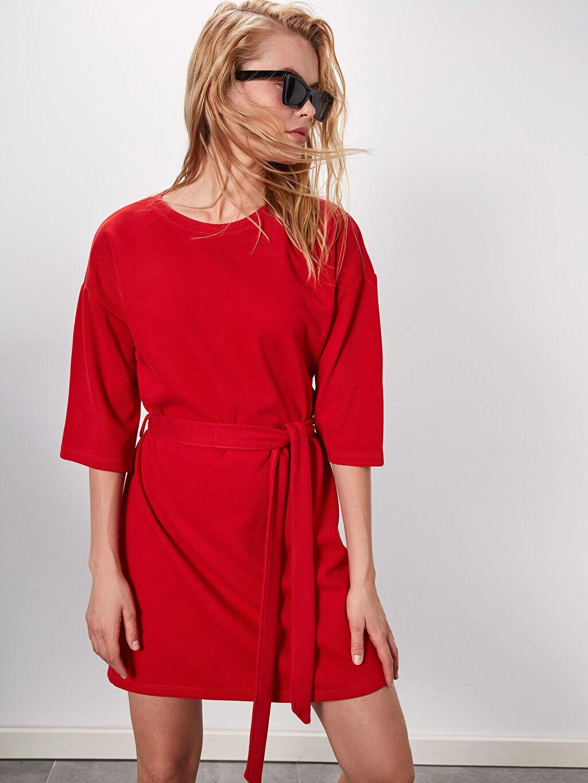 Kırmızı Kuşaklı Polar Elbise 9WL140Z8 LC Waikiki