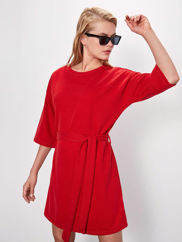 %48 Polyester %21 Viskoz %31 Akrilik Ofis/Klasik Mini Düz Kısa Kol Kuşaklı Polar Elbise