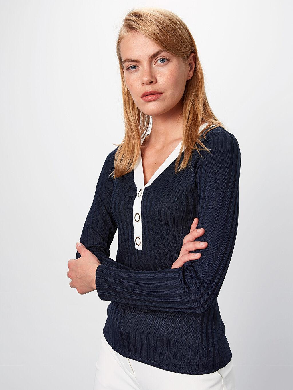 %97 Poliester %3 Elastane Standart Tişört V Yaka Kaşkorse Uzun Kol Düz Standart Kendinden Desenli V Yaka Tişört