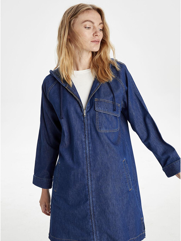 %100 Pamuk Jean Ceket İnce Kapüşonlu Uzun Jean Ceket