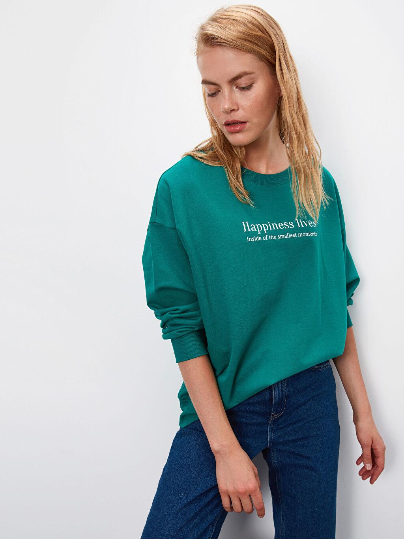 Yeşil Yazı Baskılı Sweatshirt 9WL875Z8 LC Waikiki