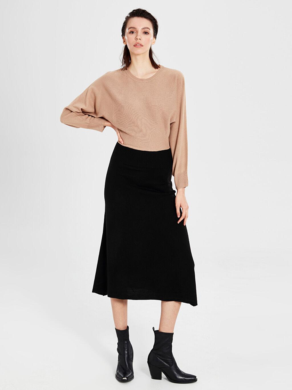 Siyah İnce Triko Renk Bloklu Elbise 9WM001Z8 LC Waikiki