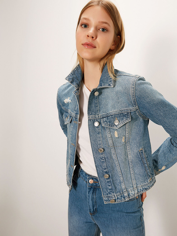 %100 Pamuk Standart İnce Jean Ceket Standart Sökük Detaylı Jean Ceket