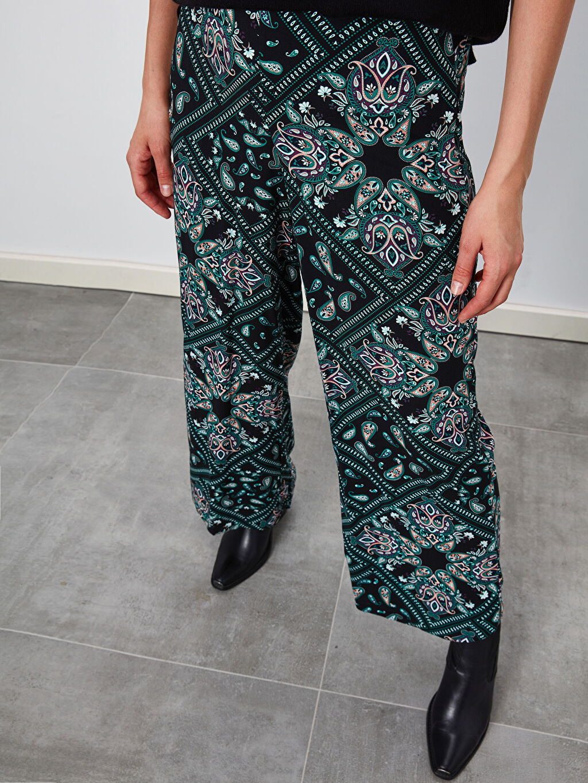 %100 Viskoz Gabardin Bilek Boy Baskılı Bol Normal Bel Pantolon Geniş Paça Desenli Viskon Palazzo Pantolon