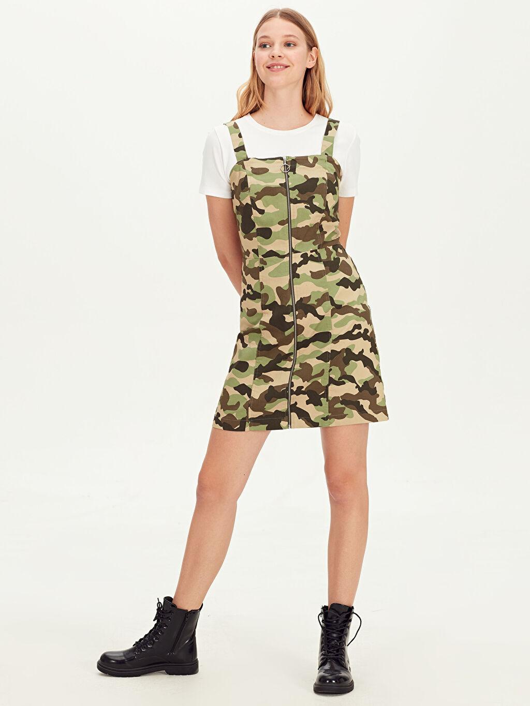%66 Pamuk %30 Polyester %4 Elastan Gabardin Baskılı Günlük Askılı Elbise Kısa Salopet Kamuflaj Desenli Askılı Mini Elbise