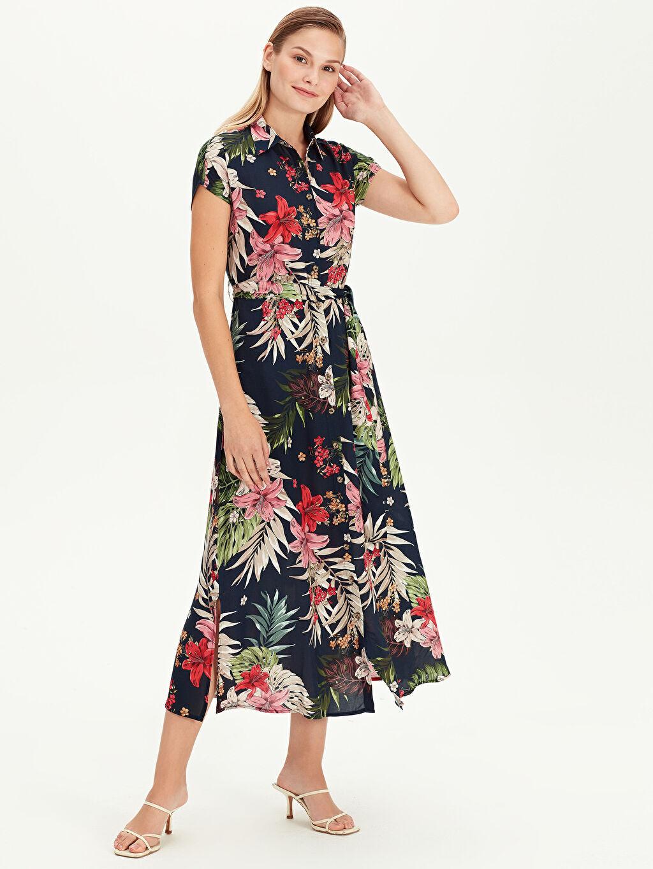 Lacivert Çiçek Desenli Uzun Gömlek Elbise 9WM298Z8 LC Waikiki