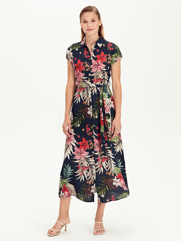 %100 Viskoz Uzun Baskılı Kısa Kol Çiçek Desenli Uzun Gömlek Elbise