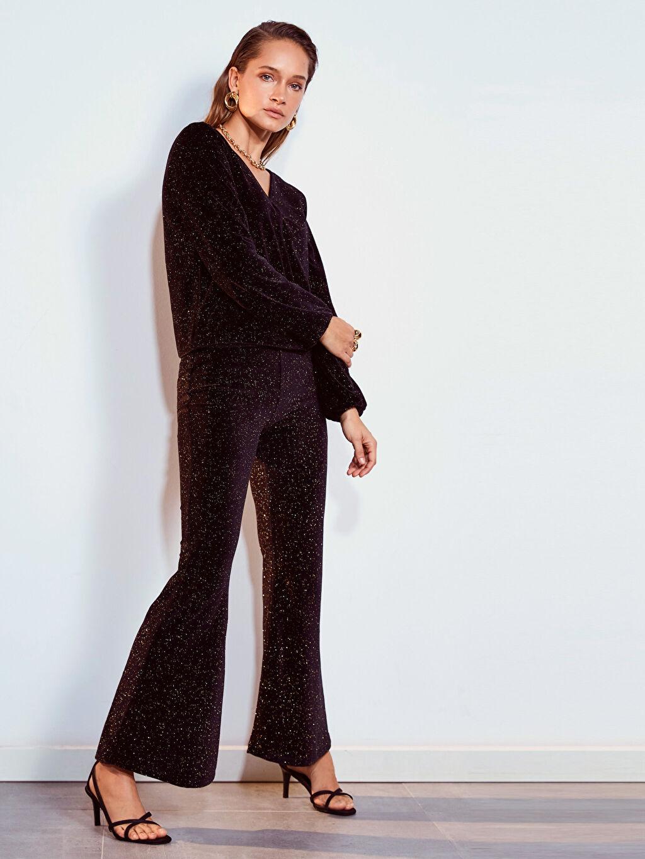 %80 Pamuk %20 Polyester Normal Bel İspanyol Paça Pantolon Standart Işıltılı İspanyol Paça Pantolon