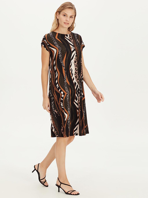 %95 Vıscose %5 Elastane Baskılı Bol Astarsız Kısa Kol A Kesim Süprem Elbise Kısa Ofis/Klasik Dökümlü Esnek Viskon Elbise
