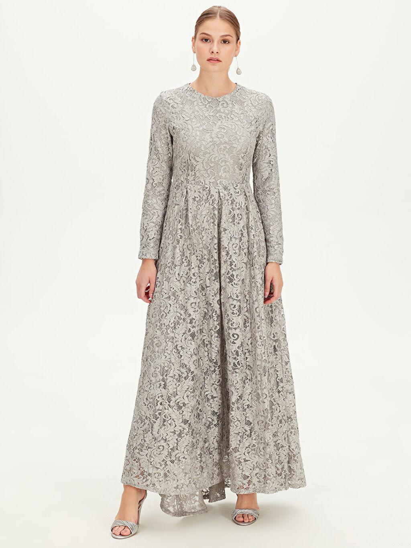 9WM681Z8 Dantelli Uzun Abiye Elbise