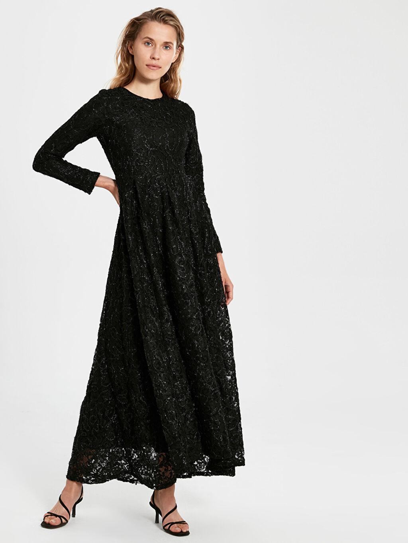 Siyah Dantelli Uzun Abiye Elbise 9WM681Z8 LC Waikiki