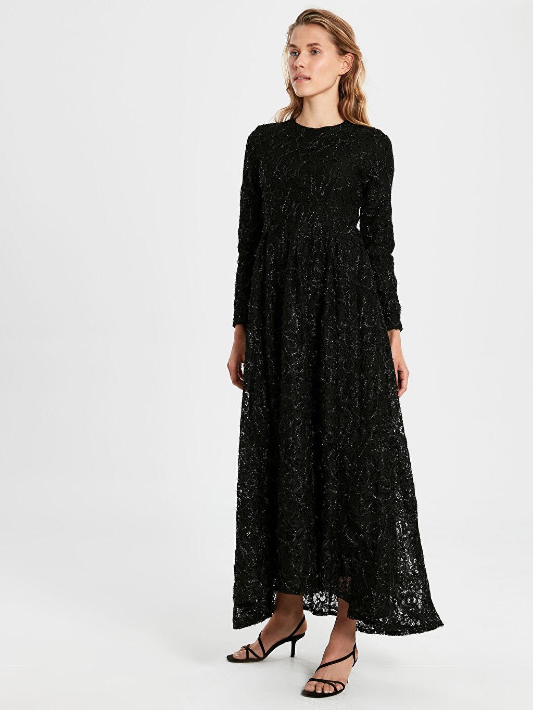 %100 Polyester %100 Polyester Baskılı Uzun Kol Dantel Fit&Flare Astarlı Elbise Abiye Dantelli Uzun Abiye Elbise